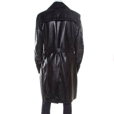 Versace Signature Black Leather Belted Overcoat XXL 186868 - 2