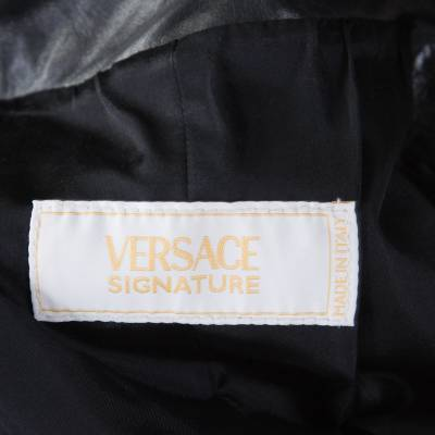 Versace Signature Black Leather Belted Overcoat XXL 186868 - 4