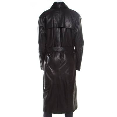 Gianni Versace Couture Black Leather Double Breasted Belted Overcoat XL 186803 - 3