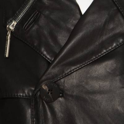 Gianni Versace Couture Black Leather Double Breasted Belted Overcoat XL 186803 - 4