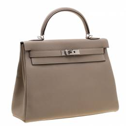 Hermes Gris Tourterelle Togo Leather Palladium Hardware Kelly Retourne 32 Bag 193466