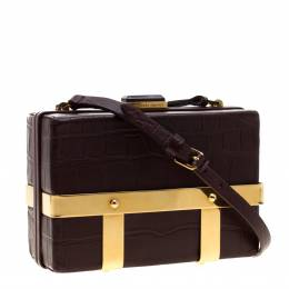 Alexander McQueen Burgundy Croc Embossed Leather Cage Box Bag 207643