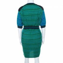 M Missoni Blue and Green Patterned Knit Short Sleeve Tunic Dress S 208474