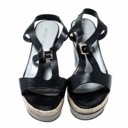 Sergio Rossi Black Leather Ankle Strap Wedge Sandals Size 36.5 207875