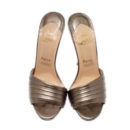 Christian Loubotuin Metallic Bronze Leather Charmula Open Toe Sandals Size 39 Christian Louboutin 208415