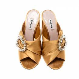 Miu Miu Yellow Satin Crystal And Faux Pearl Embellished Brooch Peep Toe Mules Size 38 208486