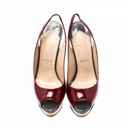 Christian Louboutin Burgundy Patent Leather Lady Peep Sling Platform Sandals Size 38 208497