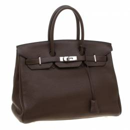 Hermes Cacao Togo Leather Palladium Hardware Birkin 35 Bag 181164