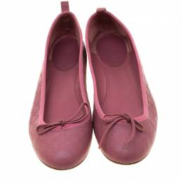 Gucci Pink Micro Guccissima Leather Bow Detail Ballet Flats 38.5 186849