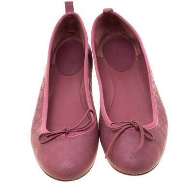 Gucci Pink Micro Guccissima Leather Bow Detail Ballet Flats 38.5 186849 - 2