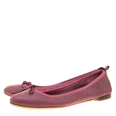 Gucci Pink Micro Guccissima Leather Bow Detail Ballet Flats 38.5 186849 - 3