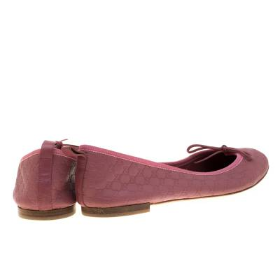 Gucci Pink Micro Guccissima Leather Bow Detail Ballet Flats 38.5 186849 - 4