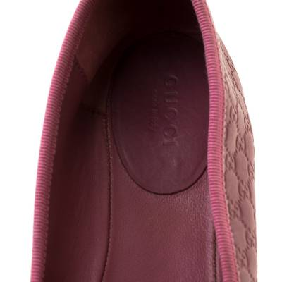 Gucci Pink Micro Guccissima Leather Bow Detail Ballet Flats 38.5 186849 - 6