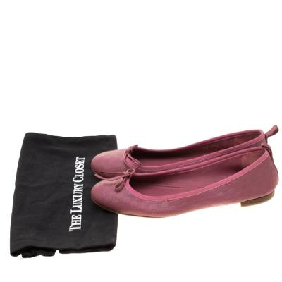 Gucci Pink Micro Guccissima Leather Bow Detail Ballet Flats 38.5 186849 - 7