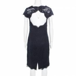 ML by Monique Lhuillier Navy Blue Lace Diamond Back Cap Sleeve Sheath Dress M 184643