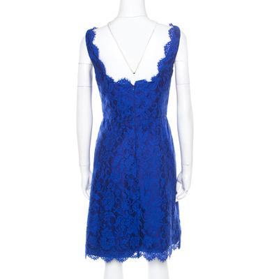 ML By Monique Lhuillier Blue Floral Lace Scalloped Trim Detail V-Neck Dress S 186093 - 2