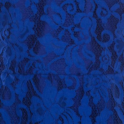 ML By Monique Lhuillier Blue Floral Lace Scalloped Trim Detail V-Neck Dress S 186093 - 3