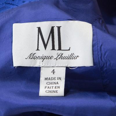 ML By Monique Lhuillier Blue Floral Lace Scalloped Trim Detail V-Neck Dress S 186093 - 4