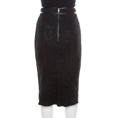 Burberry London Black Floral Lace Leather Trim Detail Pencil Skirt S 186088 - 2