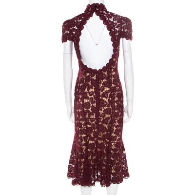 Marc Jacobs Burgundy Rose Guipure Lace Cap Sleeve Midi Dress S 186078 - 2