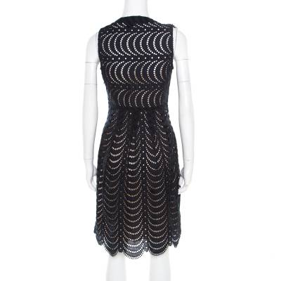 Marc By Marc Jacobs Navy Blue Eyelet Embroidered Ruffle Detail Edith Dress S 186154 - 2