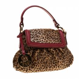 Fendi Brown/Red Pony Hair and Leather Chef Shoulder Bag 209225