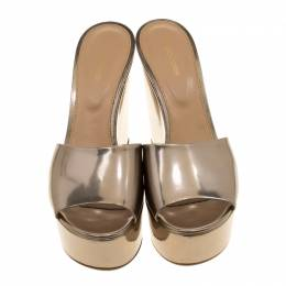 Sergio Rossi Gold Patent Leather Lakeesha Wedge Slides Size 41 154907