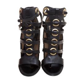 Salvatore Ferragamo Black Leather Shyla Gladiator Sandals Size 39.5 151242