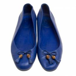 Gucci Blue Leather Bamboo Bow Ballet Flats Size 38.5 154174