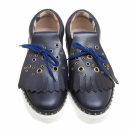 Burberry Navy Blue Leather Kiltie Fringe Slip On Sneakers Size 38.5 154100