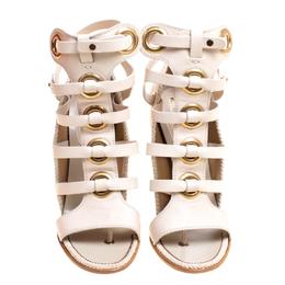 Salvatore Ferragamo Beige Leather Shyla Gladiator Sandals Size 40 148614