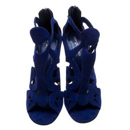 Sergio Rossi Blue Suede Cutout Sandals Size 38.5 144472