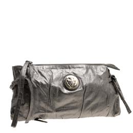Gucci Metallic Grey Leather Large Hysteria Clutch 130938