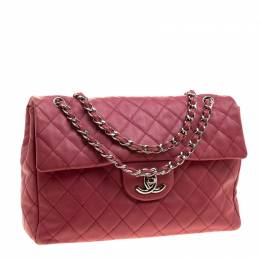 Chanel Red Quilted Leather Maxi Jumbo XL Classic Flap Bag 130924
