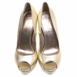 Le Silla Gold Metallic Leather Crystal Embellished Platform Peep Toe Pumps Size 41 99014