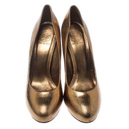 Tory Burch Metallic Bronze Crackled Leather Jenna Pumps Size 41 159730