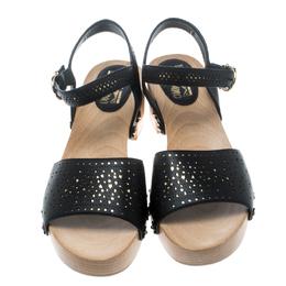 Salvatore Ferragamo Black Perforated Leather Ganga Clog Sandals Size 41.5 159836