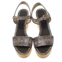 Salvatore Ferragamo Two Tone Embossed Lizard Leather Madea Cork Wedge Sandals Size 40.5 161364
