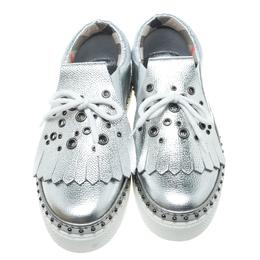 Burberry Metallic Silver Kiltie Fringe Detail Slip On Sneakers Size 40 164248