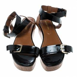 Sergio Rossi Black/Brown Leather Ankle Strap Wedge Sandals Size 40 166432