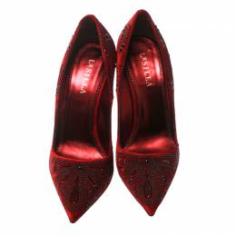 Le Silla Red Crystal Embellished Velvet Pointed Toe Pumps Size 40 170969