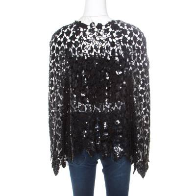 Chanel Black Sequined Cutout Guipure Lace Oversized Jacket M 186132 - 2