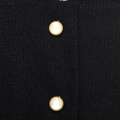 Chanel Black Textured Knit Leather Trim Logo Pearl Button Jacket M 186137 - 3
