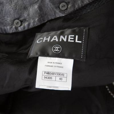 Chanel Black Textured Knit Leather Trim Logo Pearl Button Jacket M 186137 - 4