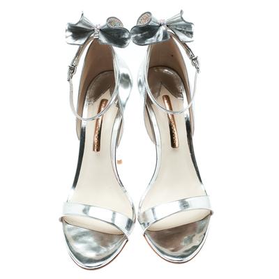 Sophia Webster Metallic Silver Leather Maya Crystal Embellished Bow Ankle Strap Sandals Size 39 186883 - 2