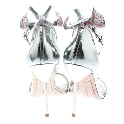 Sophia Webster Metallic Silver Leather Maya Crystal Embellished Bow Ankle Strap Sandals Size 39 186883 - 4
