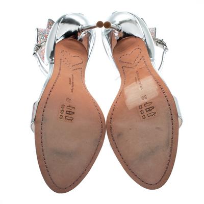 Sophia Webster Metallic Silver Leather Maya Crystal Embellished Bow Ankle Strap Sandals Size 39 186883 - 5