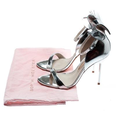Sophia Webster Metallic Silver Leather Maya Crystal Embellished Bow Ankle Strap Sandals Size 39 186883 - 7