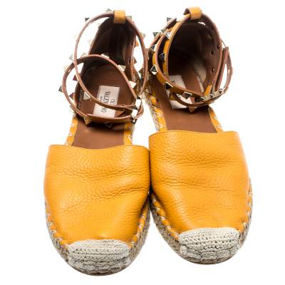 Valentino Yellow Leather Rockstud Ankle Wrap Espadrilles Size 37 185986 - 3