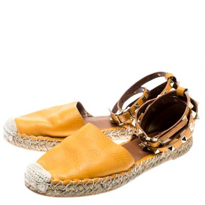 Valentino Yellow Leather Rockstud Ankle Wrap Espadrilles Size 37 185986 - 4